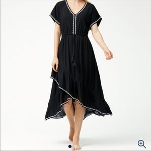 Tommy Bahama Black Crinkle Rayon Tiered Maxi Dress